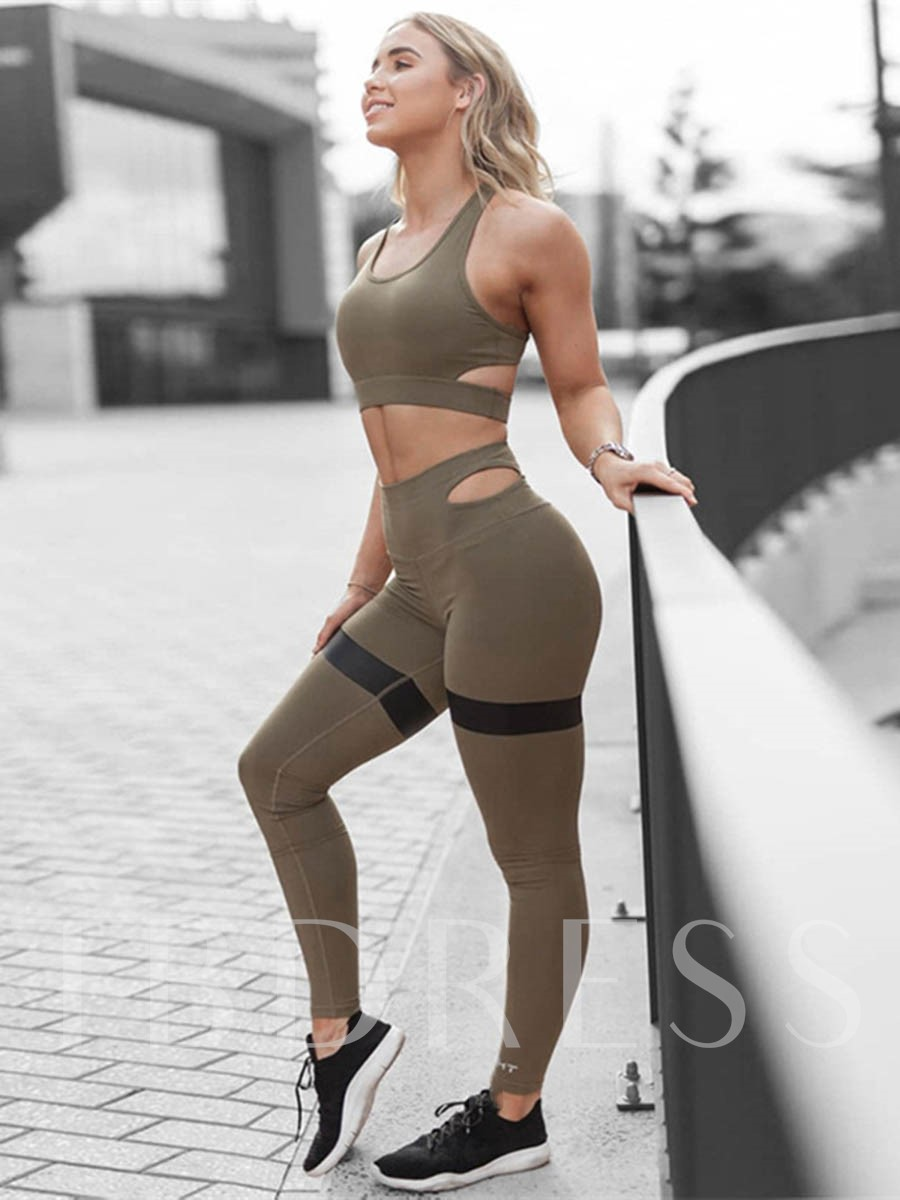 Workout Suit Sleeveless Quick Dry Solid Pullover Sports Set for Women