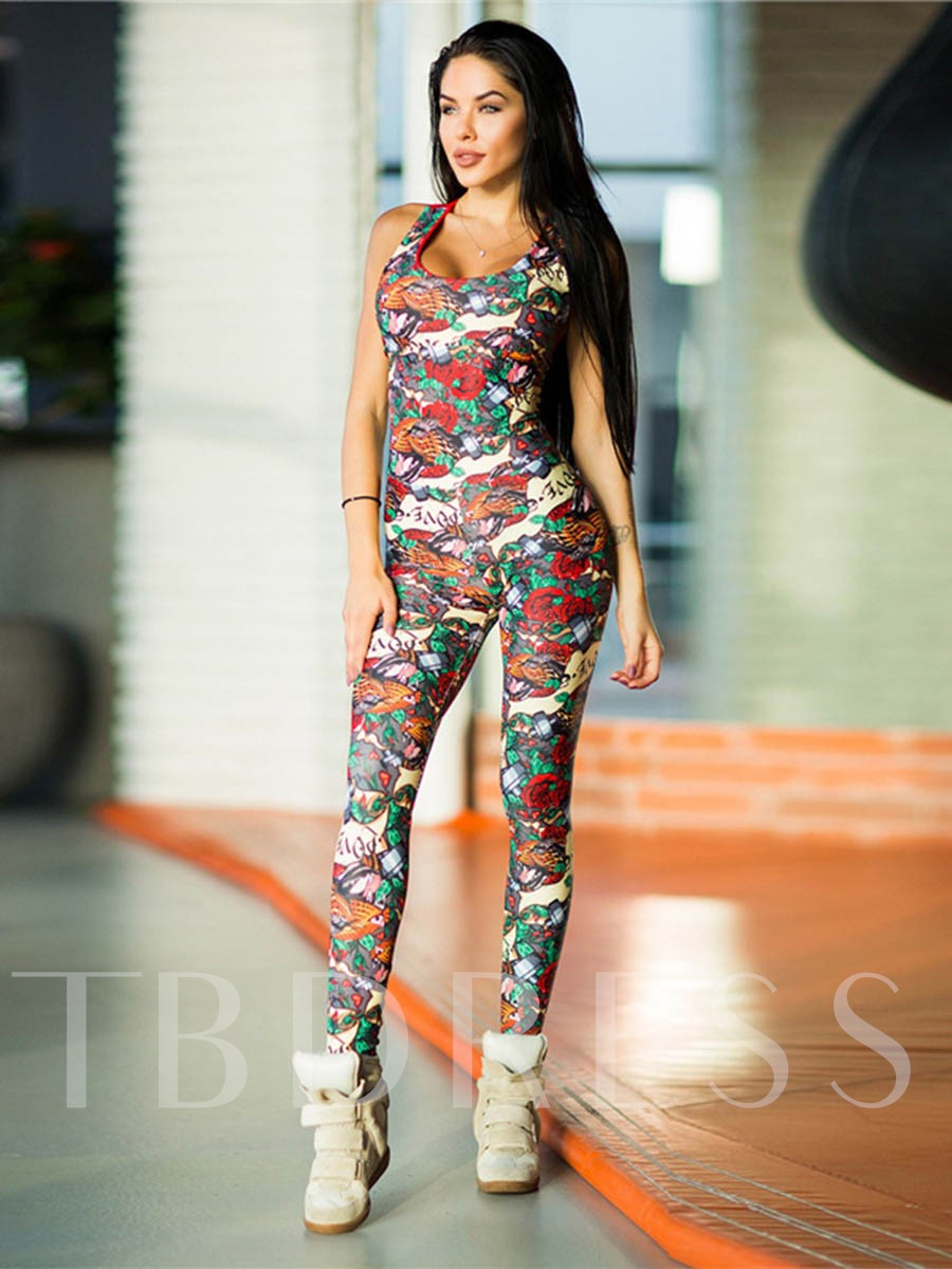 Workout Suit Print Floral Breathable Onesies Women's Sports Suit
