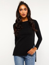 Long Sleeve Mid-Length Round Neck Split Women's T-Shirt
