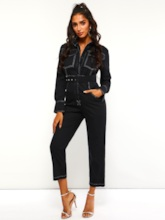 Casual Belted Pocket Straight Women's Jumpsuits