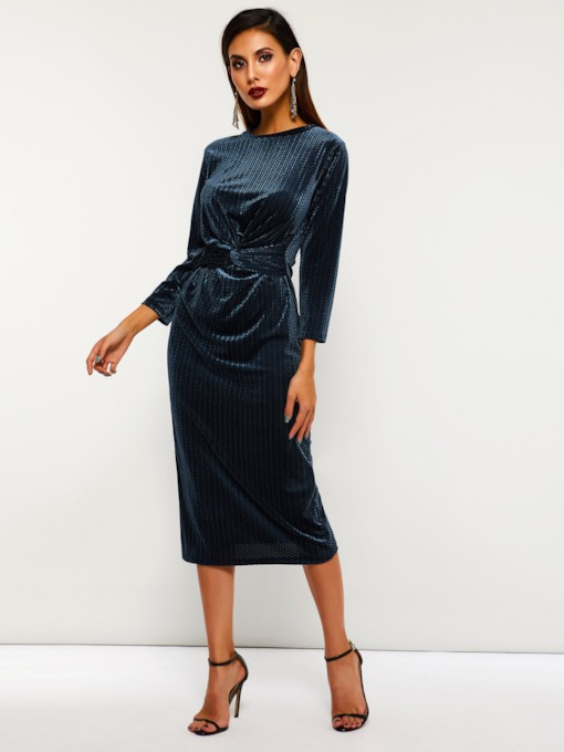 Round Neck Plain Casual Women's Long Sleeve Dress