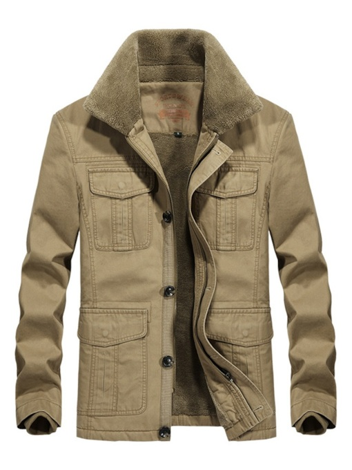 Thick Pocket Lapel Plain Casual Men's Jacket