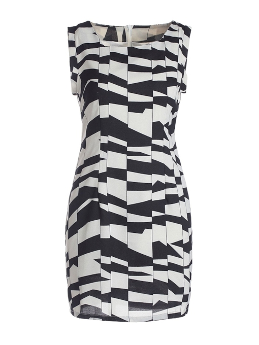 Sleeveless Color Block Casual Women's Bodycon Dress