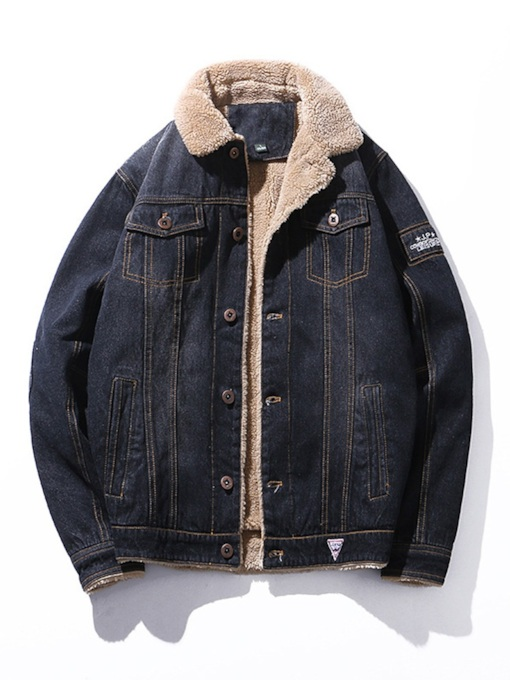 Thick Letter Lapel Plus Fur Men's Denim Jacket