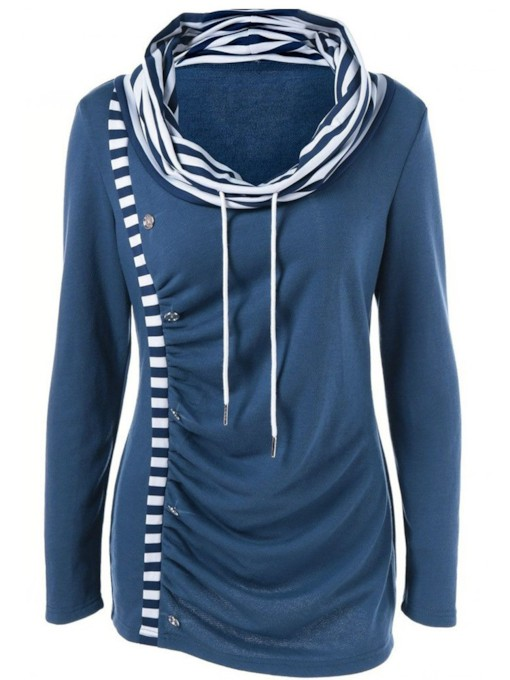Heap Collar Stripe Button Fall Women's Sweatshirt