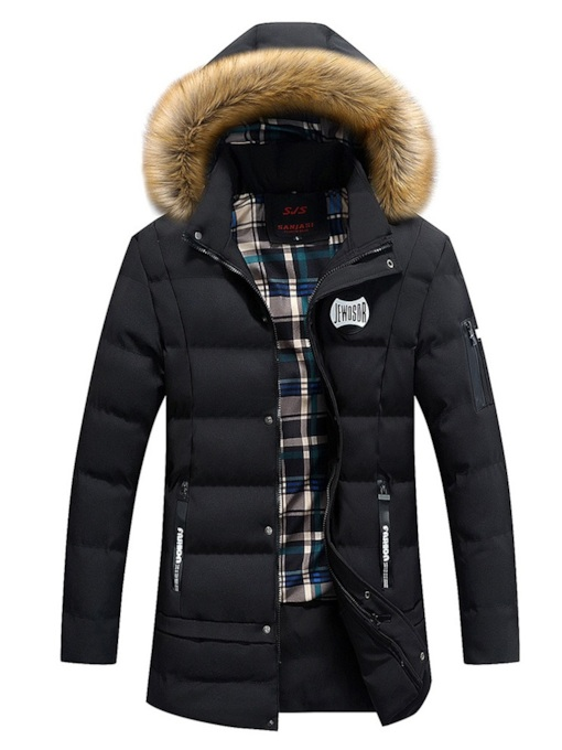 Thick Stand Collar Mid-Length Slim Zipper Hooded Men's Down Jacket