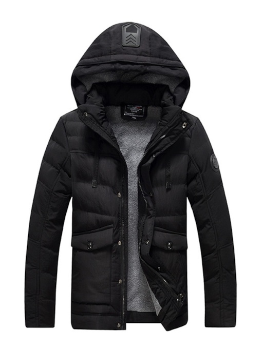 Stand Collar Thick Plain Slim Casual Men's Down Jacket