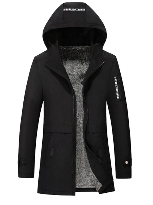 Mid-Length Slim Hooded Fleece Plus Fur Men's Trench Coat
