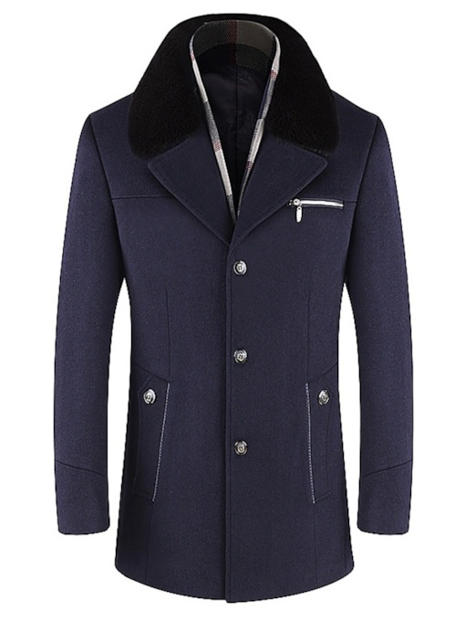 Mid-Length Button Notched Lapel Slim Single-Breasted Men's Woolen Coat