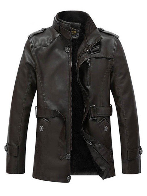 Standard Straight Plain Zipper Casual Men's Leather Jacket