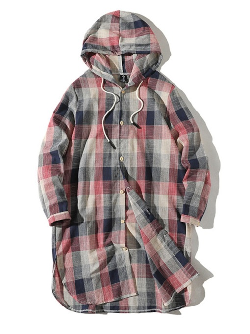 Lace-Up Casual Hooded Plaid Mid-Length Loose Men's Shirt