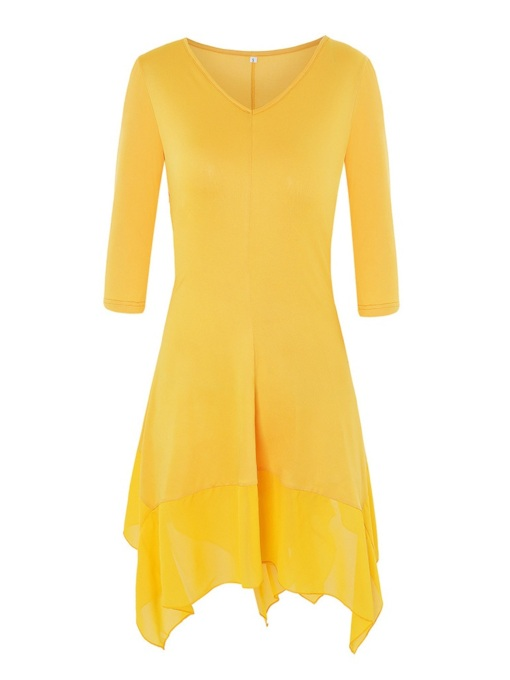 Plain V-Neck A-Line Women's Long Sleeve Dress