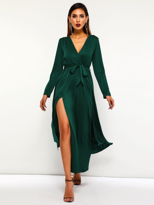 V-Neck Split Casual Women's Long Sleeve Dress