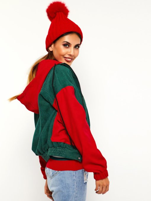 Color Block Dual Pockets Hooded Women's Jacket