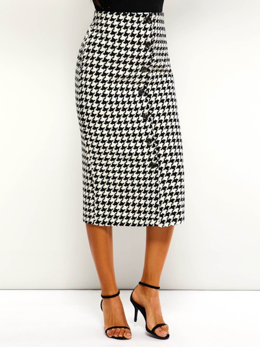 Button Mid-Calf High-Waist Houndstooth Women's Skirt