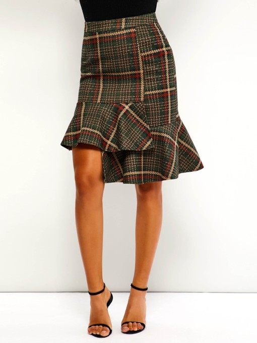 Asymmetrical Print Knee-Length Plaid Women's Skirt