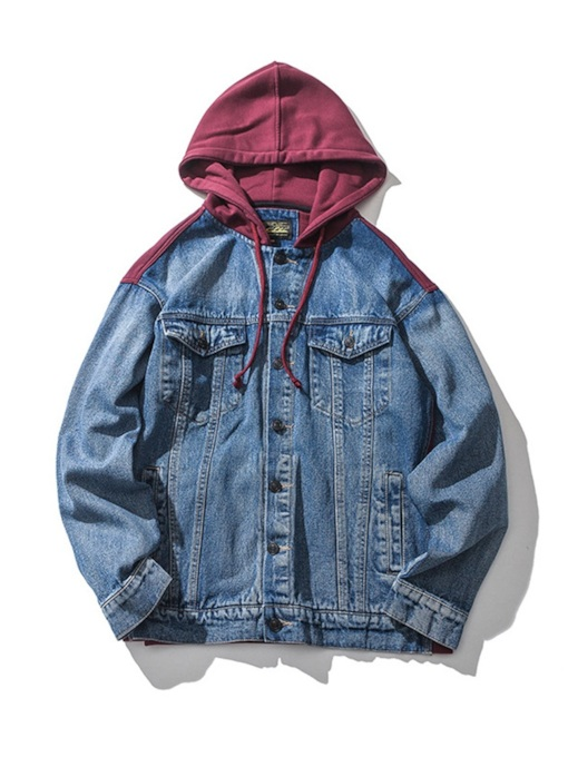 Slim Pockets Hooded Men's Denim Jacket