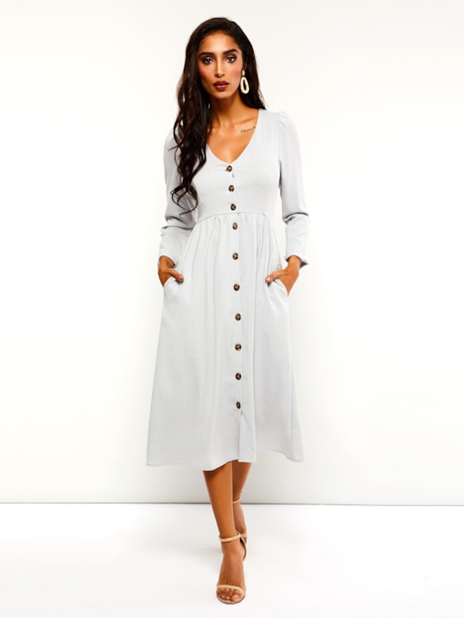 V-Neck Button Casual Women's Long Sleeve Dress