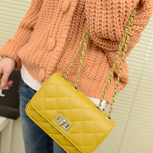 Retro Argyle Chain Women Cross Body Bag