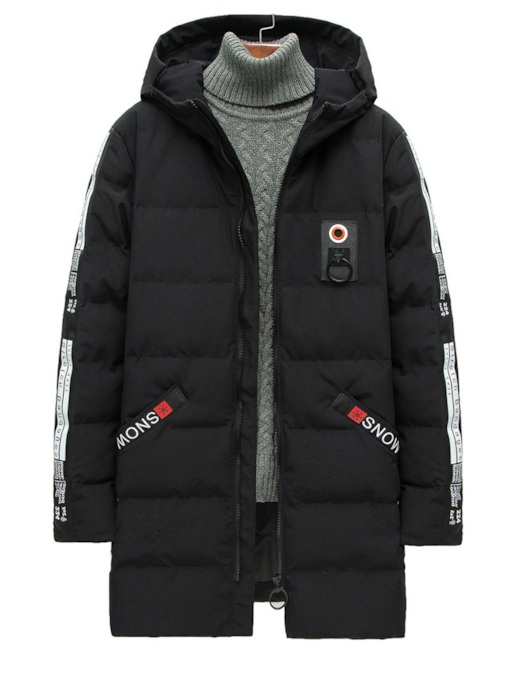 Hooded Thick Straight Mid-Length Casual Men's Down Jacket