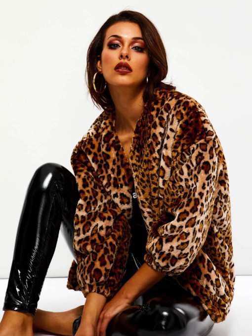 Loose Leopard Winter Mid-Length Women's Overcoat