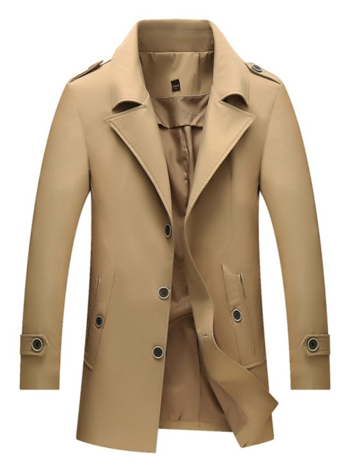 Notched Lapel Buttons Slim Single-Breasted Fashion Men's Trench Coat