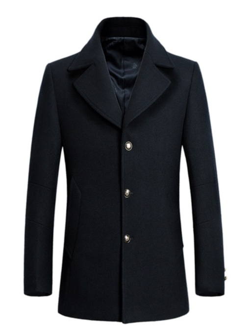 Slim Notched Lapel Mid-Length Single-Breasted Men's Woolen Coat
