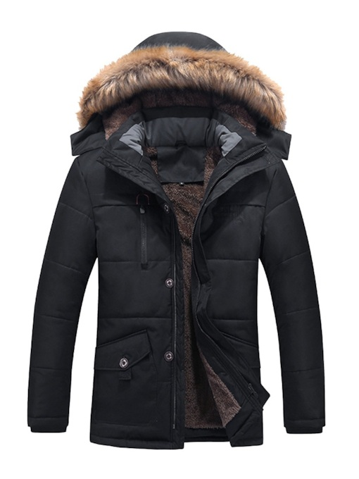 Plain Pocket Thick Plus Fur Hooded Men's Down Jacket