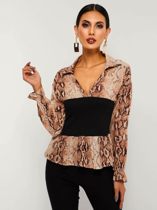 Slim Lapel Serpentine Women's Blouse