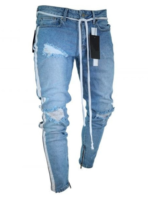 Skinny Hole Pencil Pants European Men's Jeans
