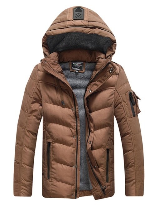 Plain Slim Zipper Thick Hooded Men's Down Jacket