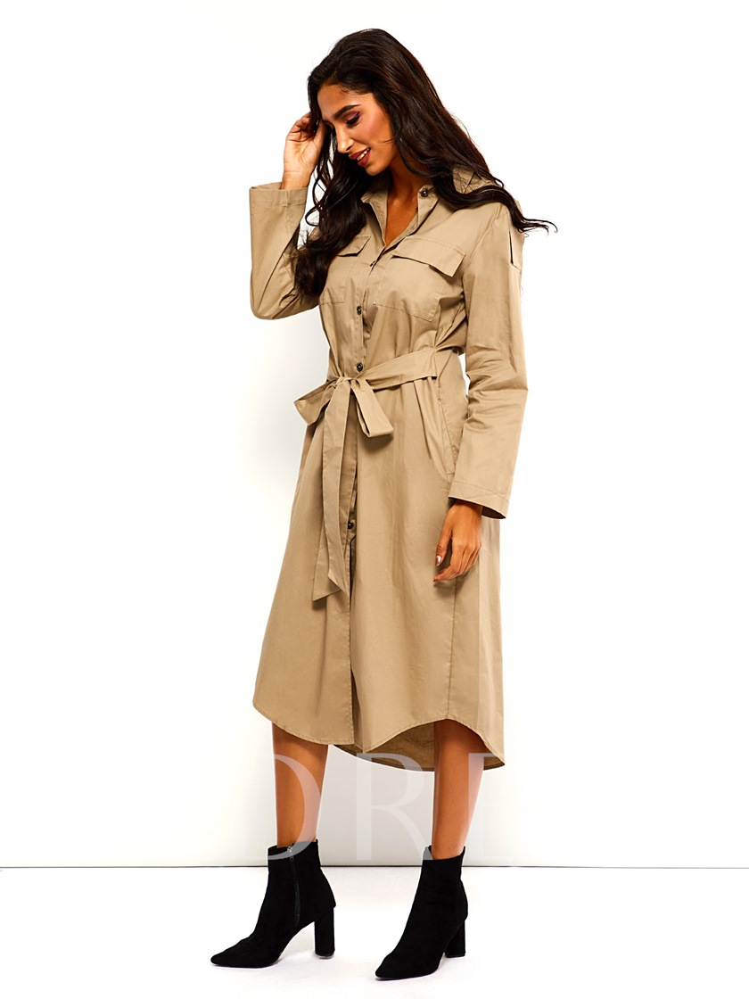 Lace-Up Single-Breasted Lapel Camel Women's Trench Coat