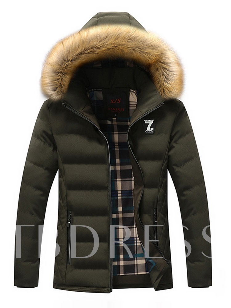 Plain Thick Standard Slim Zipper Fur Hooded Men's Down Jacket