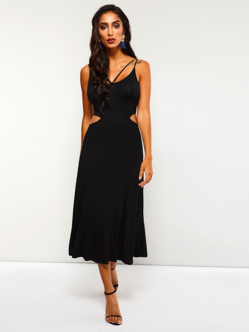 Sleeveless Hollow Plain Women's Maxi Dress