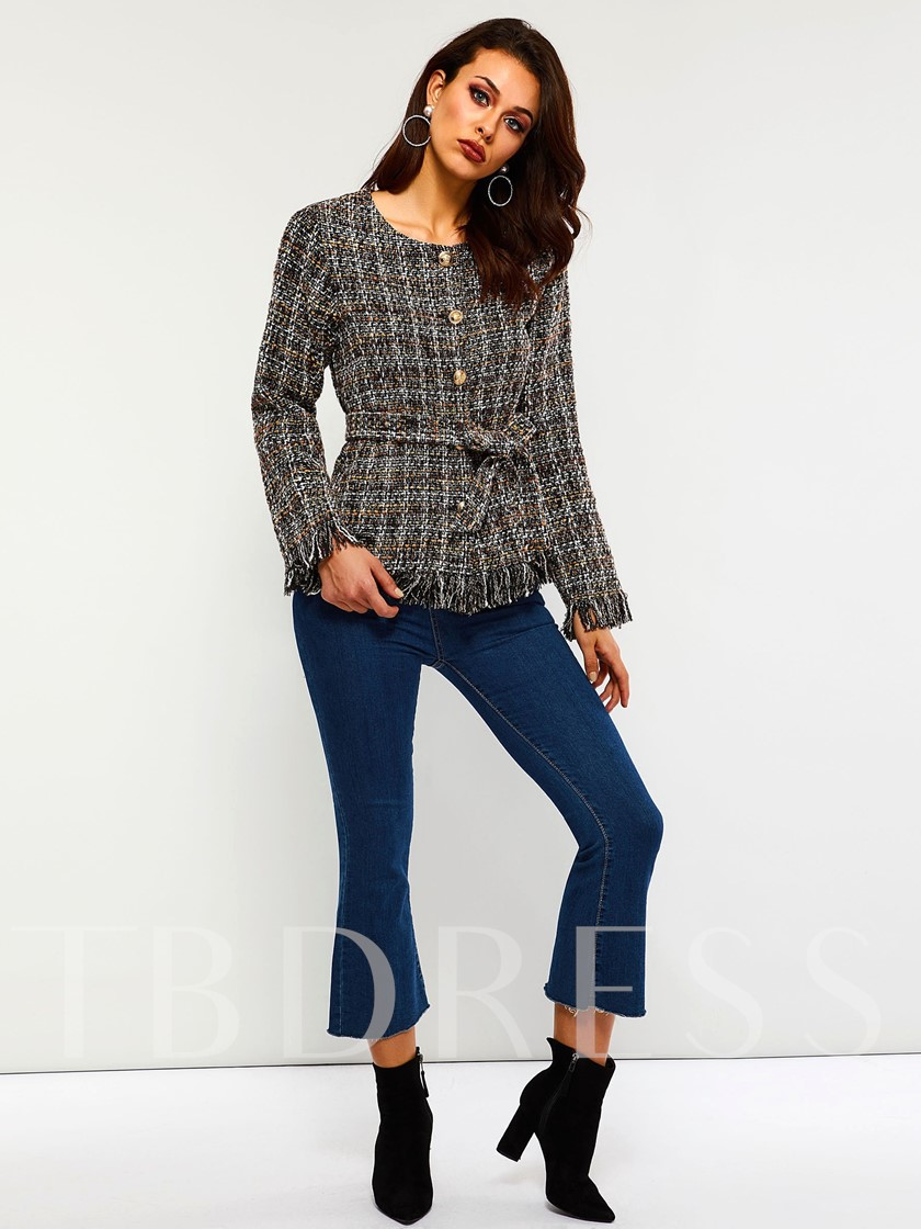Tweed Lace-Up Single-Breasted Women's Overcoat