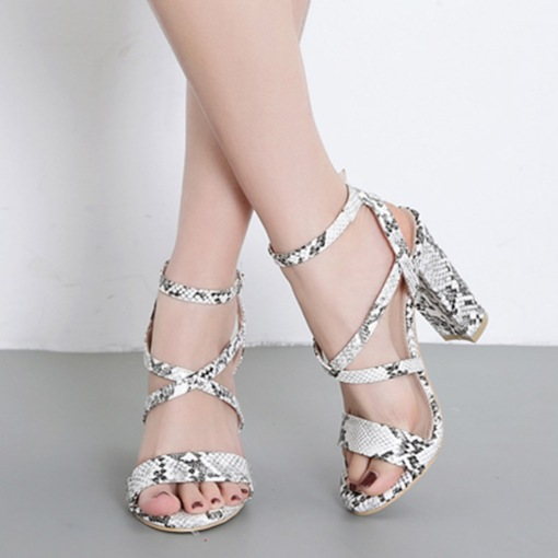 Chunky Heel Open Toe Strappy Buckle Serpentine Casual Sandals