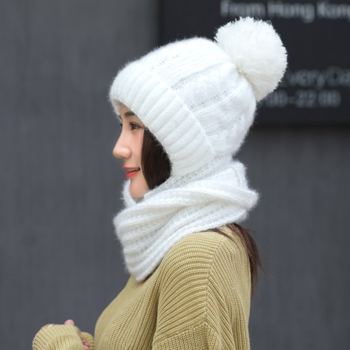 Cute Pompon Warmth Knitted 2-Piece Set(Including Hat, Scarf)