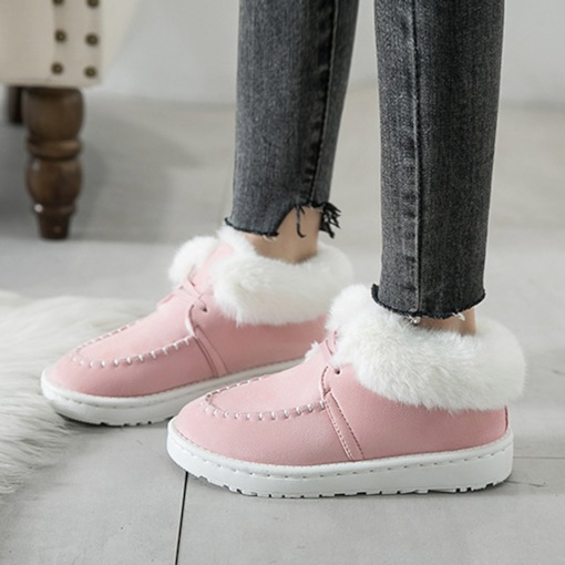 Platform Plain Lace-Up Front Round Toe Purfle Slip on Winter Boots