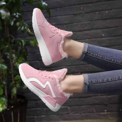 Mid-Cut Upper Lace-Up Round Toe Short Floss Women's Sneakers