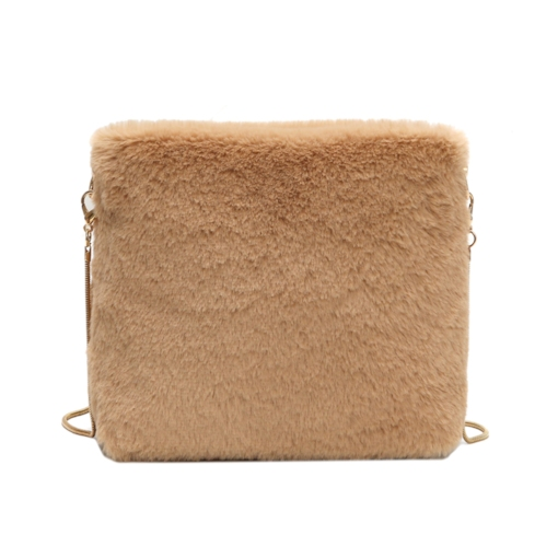 Plain Thread Velour Square Crossbody Bags