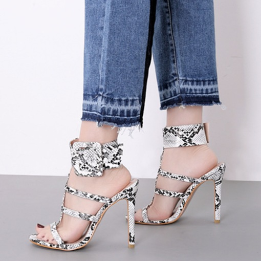 Buckle Open Toe Strappy Stiletto Heel Serpentine Sandals