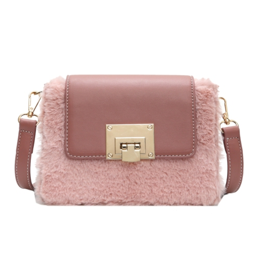 Casual Lock Velour Rectangle Crossbody Bags