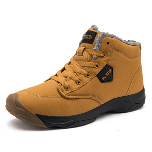 Plain Round Toe Lace-Up Front Short Floss Men's Winter Boots