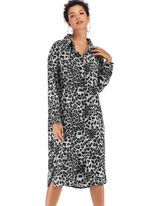 Leopard Casual Button Prints Women's Long Sleeve Dress