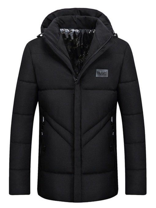 Hooded Zipper Thick Plain Casual Men's Down Jacket