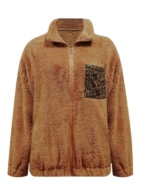 Fluffy Leopard Pocket Teddy Women's Sweatshirt