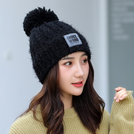 Solid Color Letter Print Woolen Yarn Knitted Hats