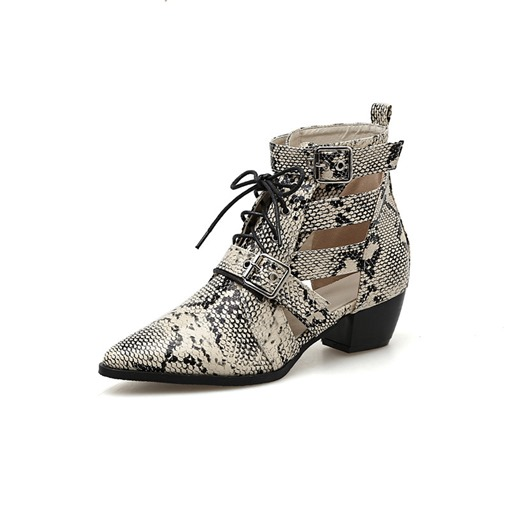 Chunky Heel Round Toe Lace-Up Front Serpentine Women's Ankle Boots