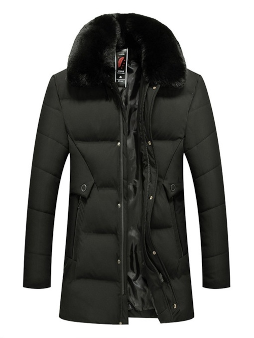 Mid-Length Plain Slim Thick Zipper Fur Neck Men's Down Jacket