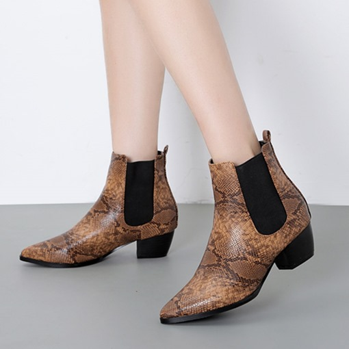 Serpentine Pointed Toe Chunky Heel Elastic Women's Ankle Boots
